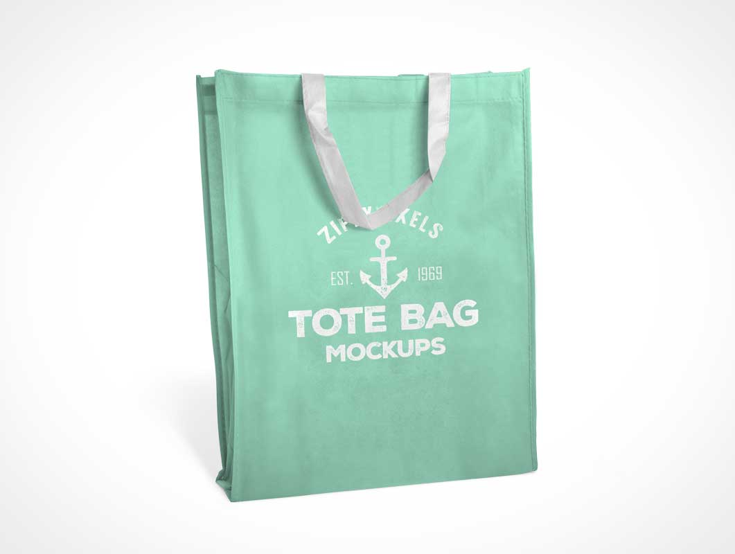 Fabric Tote Bag PSD Mockups With Carry Handles