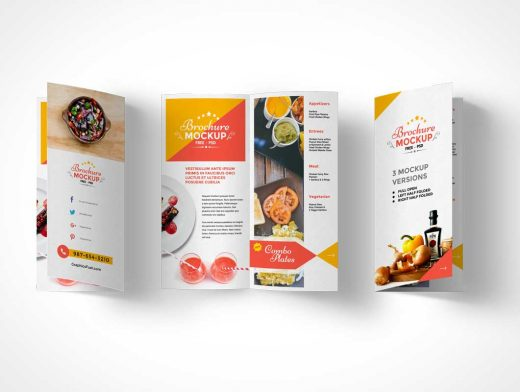 Free Bi-Fold Brochure PSD Mockup Front Back and Centrefold