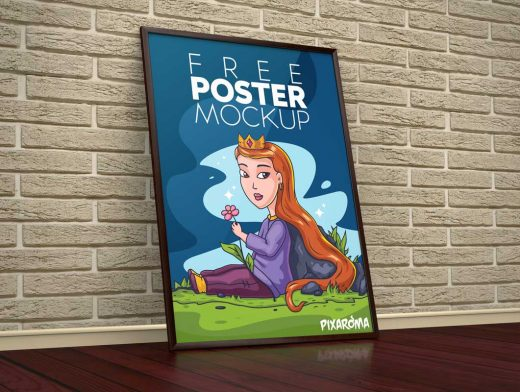 Free Floor Poster PSD Mockup Against Wall