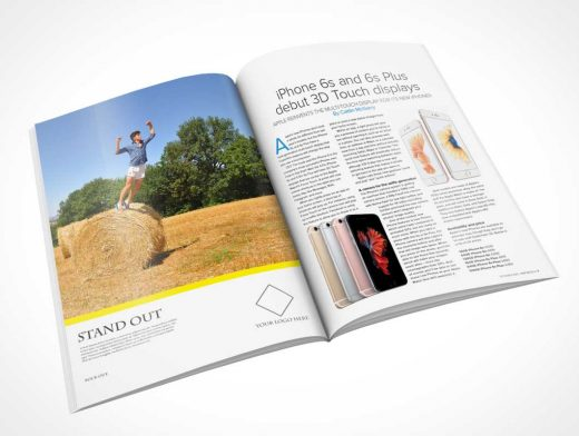 Glossy Magazine Centrefold PSD Mockup