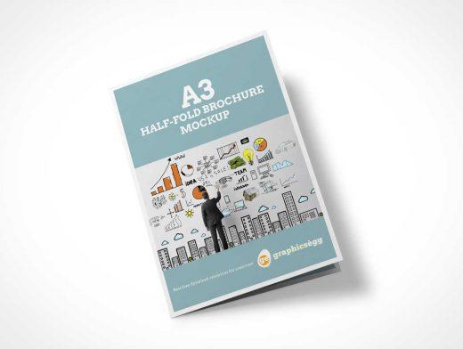 Half-Fold Brochure PSD Mockup