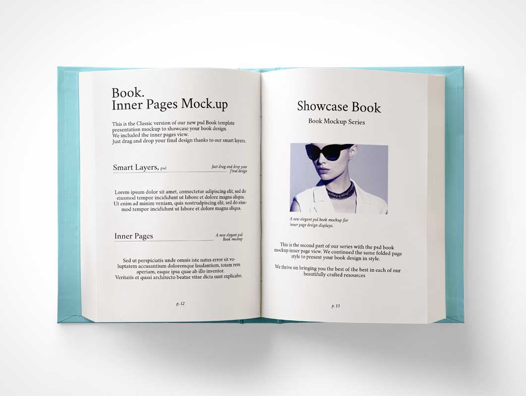 Hardback Book Inner Pages PSD Mockup