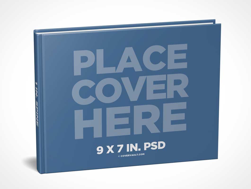 Hardcover Book PSD Mockup Landscape 9 x 7 Format - PSD Mockups