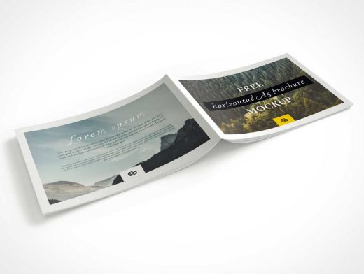 Landscape Brochure PSD Mockup Front And Back Cover