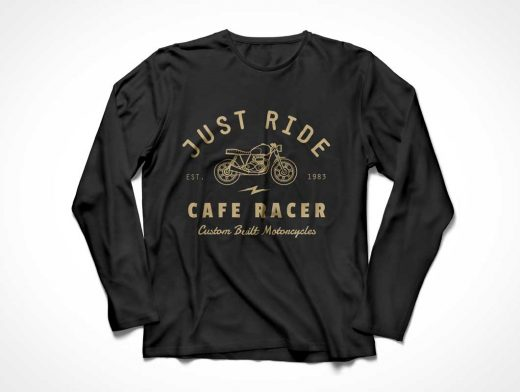 Long Sleeve T-Shirt PSD Mockup Ruffled Presentation