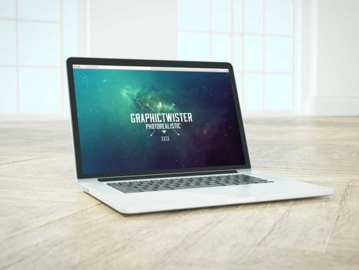 MacBook PSD Mockup On Wood Floor