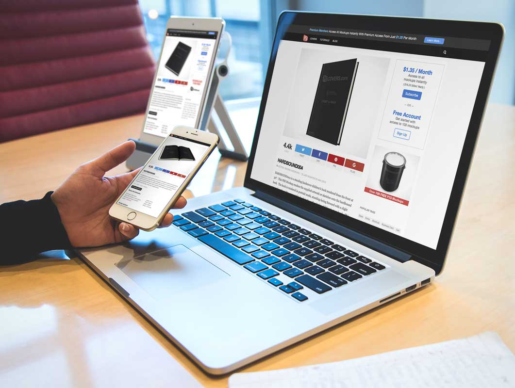 MacBook iPad iPhone PSD Mockup Scene