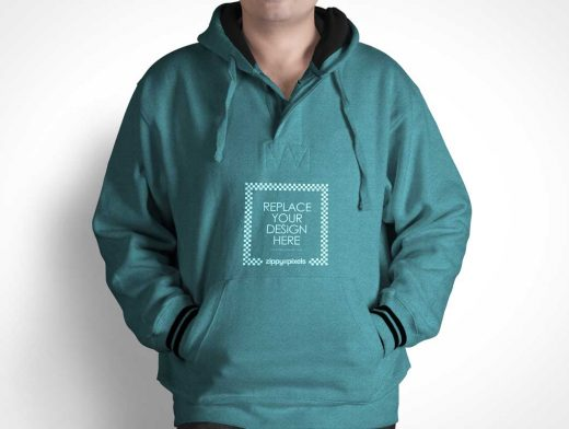 Men's Hoodie Sweater PSD Mockup Front View