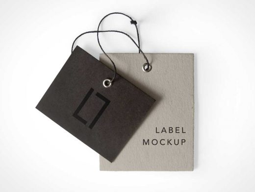 Multiple Label Brand Tags PSD Mockup String Grommet