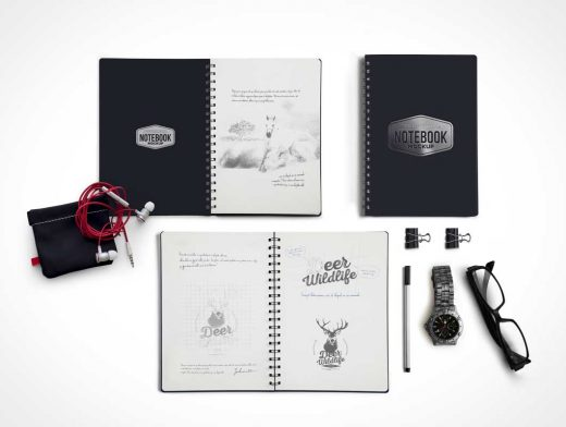 Notebook PSD Mockup Scene With Accessories