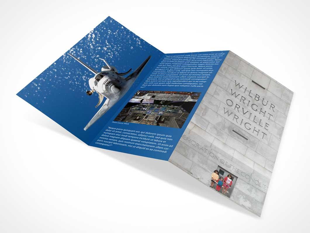 Open Tri-Fold Brochure PSD Mockup
