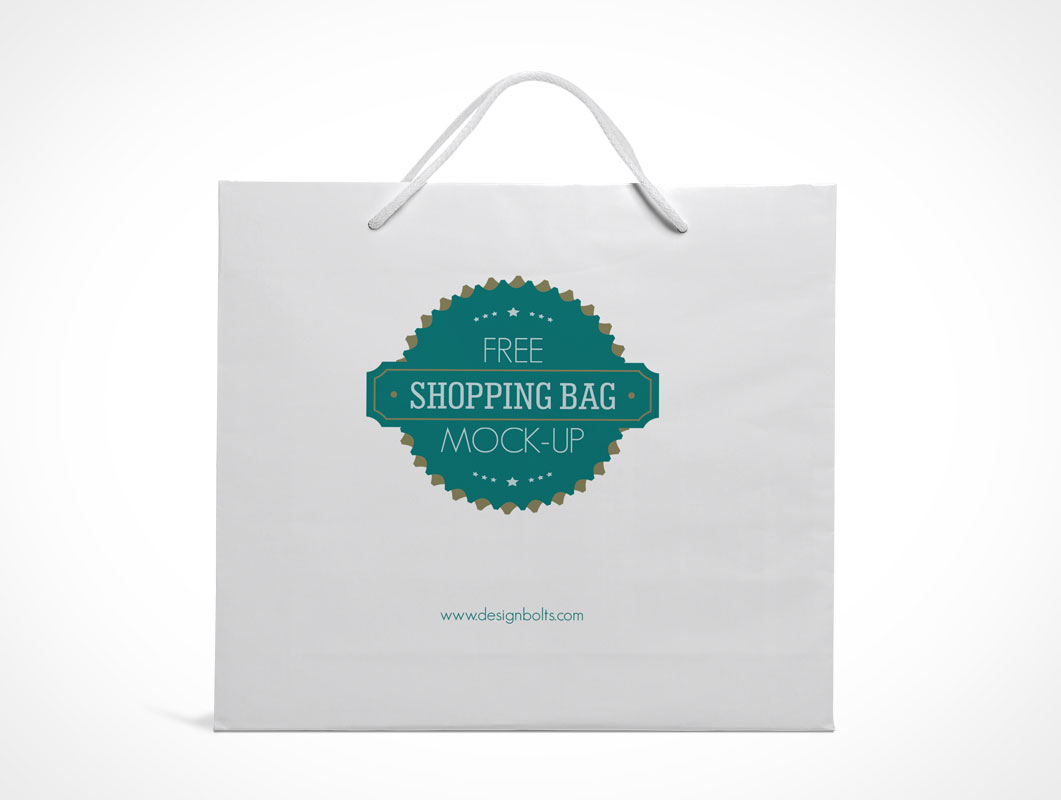 Paper Shopping Bag PSD Mockup Front View