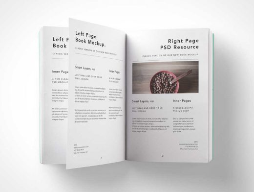 Paperback Open Book PSD Mockup Flip Pages