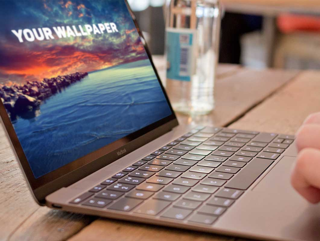 Photo Realistic Macbook PSD Mockup Bistro Scene