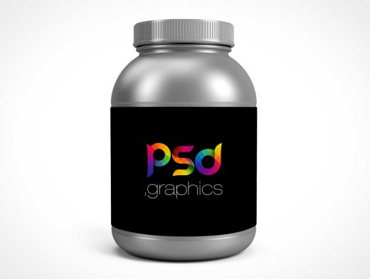 Protein Jar Container Packaging PSD Mockup With Label