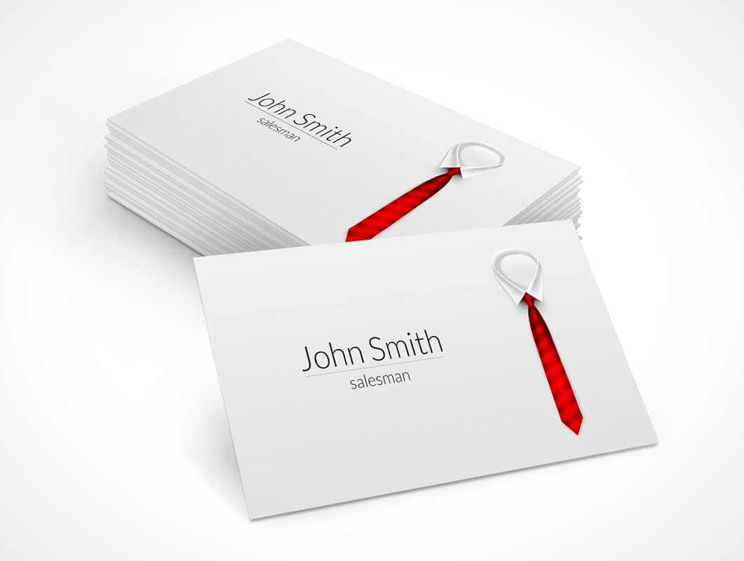 Red Tie Business Card PSD Mockup Stack - PSD Mockups