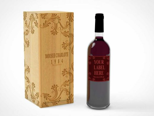 Red Wine Bottle PSD Mockup With Engraved Wooden Case