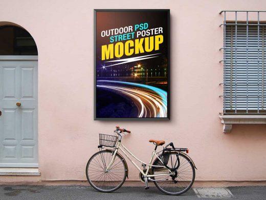 Roadside Street Poster PSD Mockup