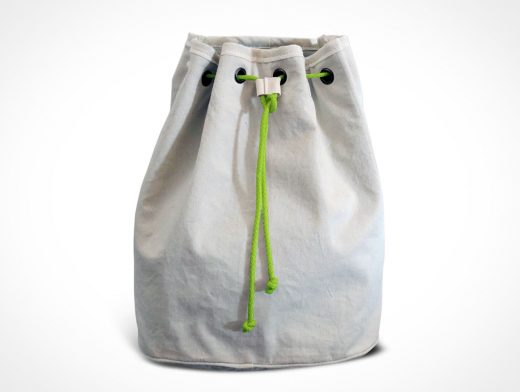 Sack Cloth Bag PSD Mockup With Rope and Grommets