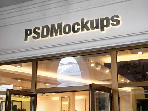Shop Signage PSD Mockup Facade Logo With Lighting