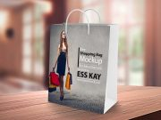 Shopping Bag PSD Mockup With Rope Carry Handles