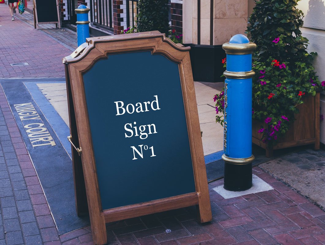 Sidewalk Board Sign PSD Mockup Hip And Fancy Frame
