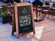 Sidewalk Chalk Board Sign PSD Mockup