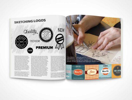 Square Brochure Centrefold Magazine PSD Mockup