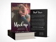 Stacked 6 x 9 Paperback Book PSD Mockup with Back Cover