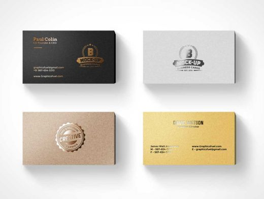 Stacked Foil Business Cards PSD Mockup