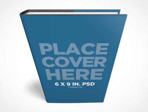 Standing 6 x 9 Hardcover Book PSD Mockup with Dust Jacket