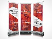 Standing Roll-up Banner PSD Mockup For Trade Shows