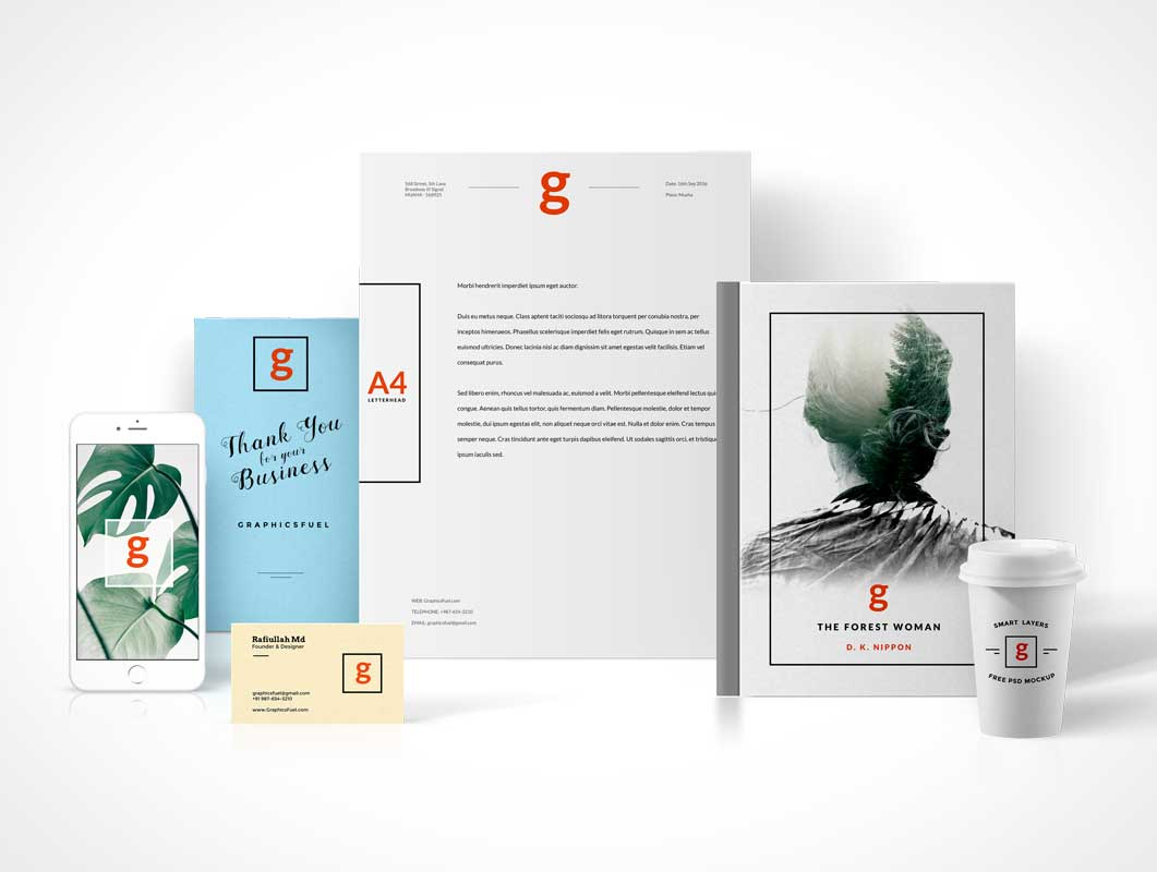 Standing Visual Branding PSD Mockup