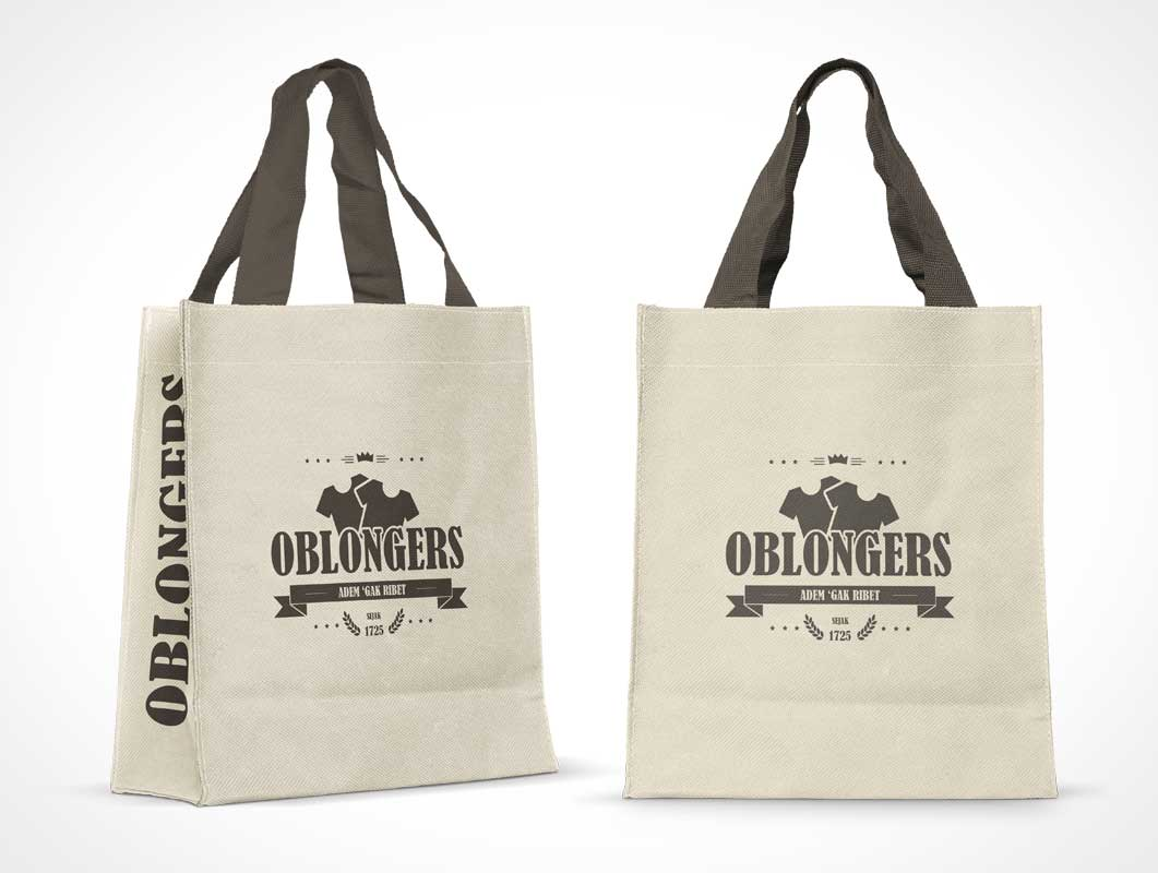 Stitched Cotton Bag PSD Mockup With Nylon Handles