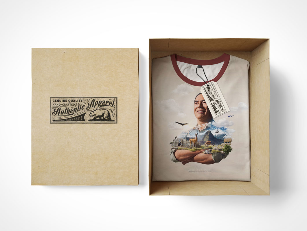 T-Shirt And Tag Label PSD Mockup Inside Shoe Box Packaging