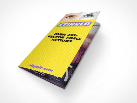 Tri-Fold Brochure PSD Mockup Closed Folded and Extended