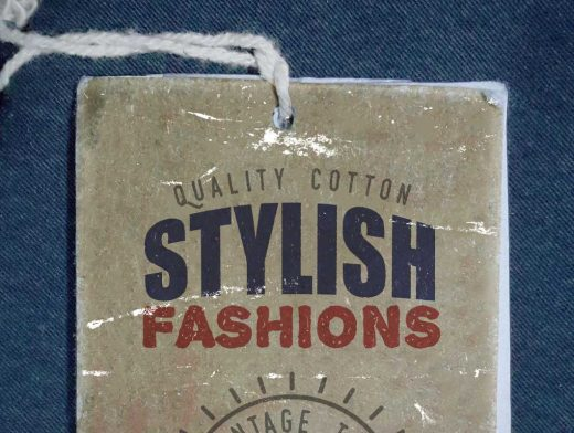 Vintage Label Tag With String PSD Mockup For Clothing