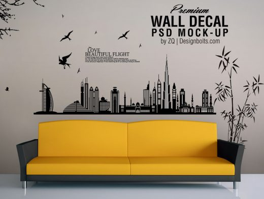 Vinyl Decal Wall Art PSD Mockup Couch Scene