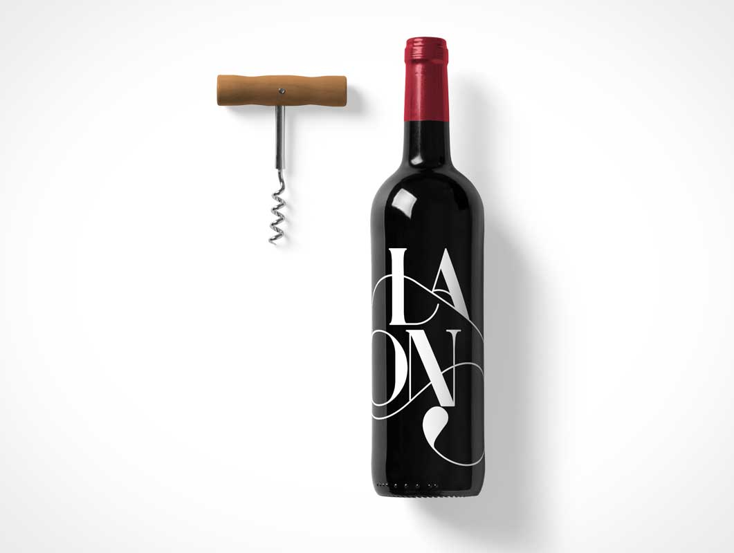 Wine Bottle PSD Mockup With Cork Screw