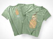 Womans Marl T-Shirt PSD Mockup Front And Back