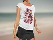 Woman's T-Shirt PSD Mockup Outdoor Beach Scene