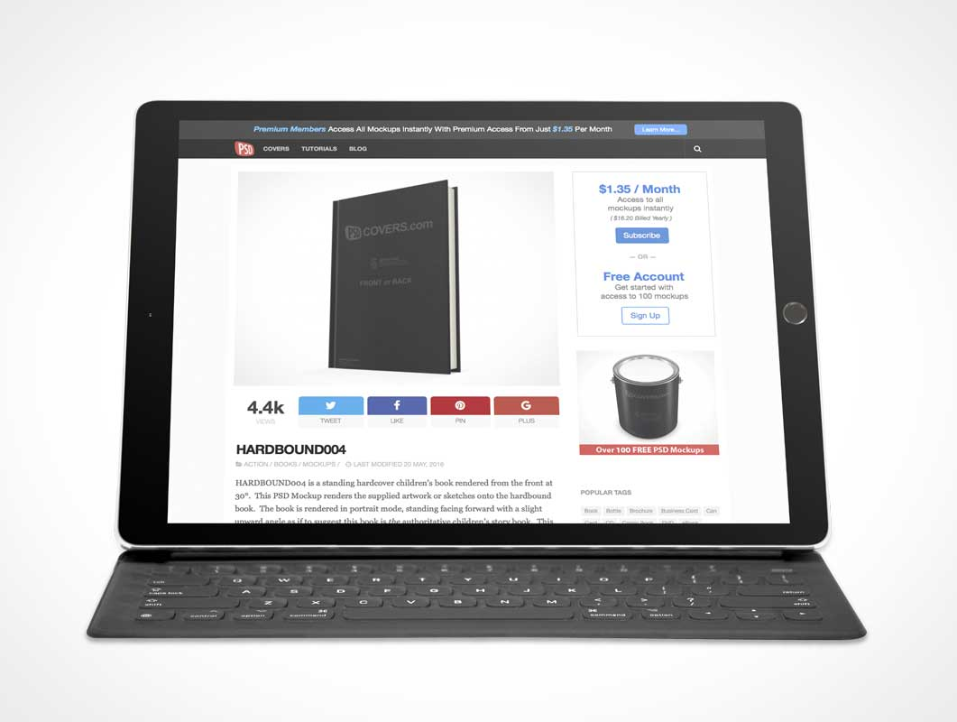iPad Pro Landscape Mode PSD Mockup With Keyboard