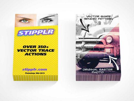 2 Business Card Stacks Side By Side PSD Mockup
