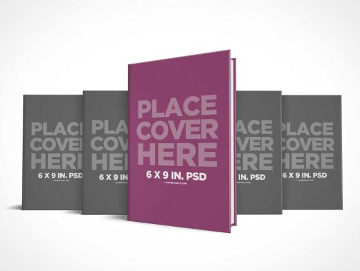 6 x 9 Hardcover Book Series Presentation PSD Mockup
