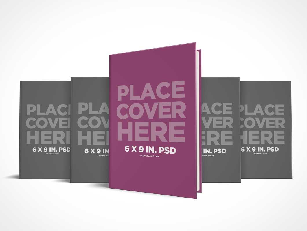 6 x 9 Hardcover Book Series Presentation PSD Mockup