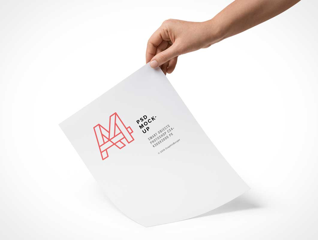 A4 Paper Hand Held PSD Mockup
