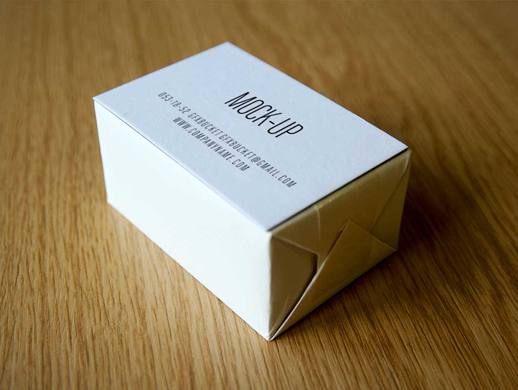 Business cards in cardboard box mockup images card for Business card box template