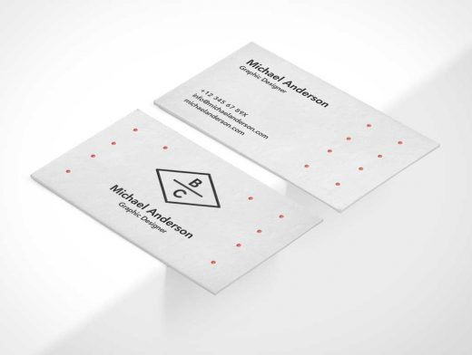 Business Card PSD Mockup Isometric Front And Back
