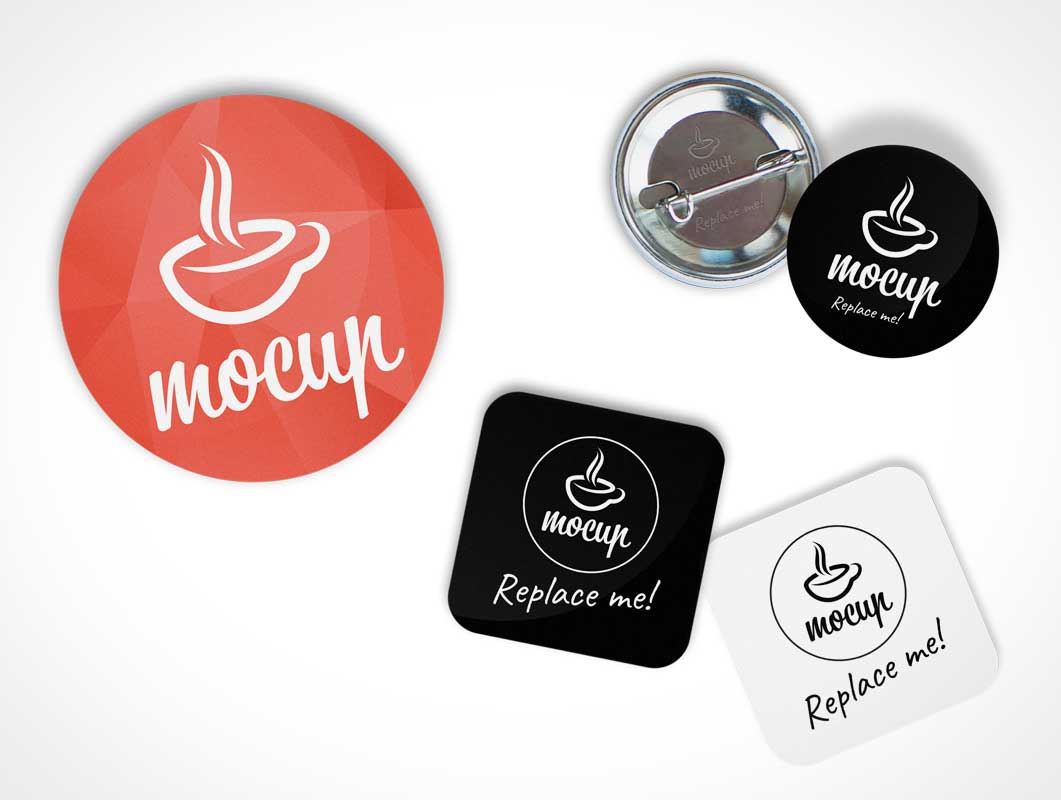 Button Badge PSD Mockup Generator
