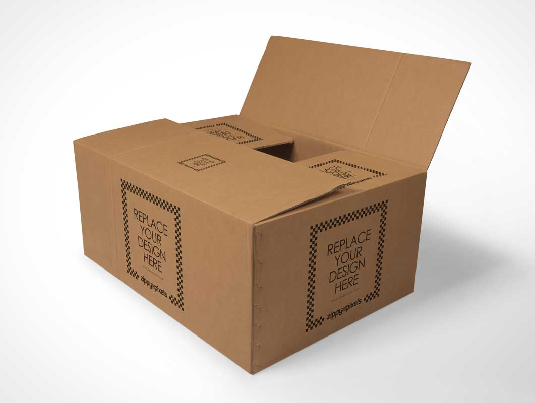 Cardboard Box Packaging For PSD Mockups